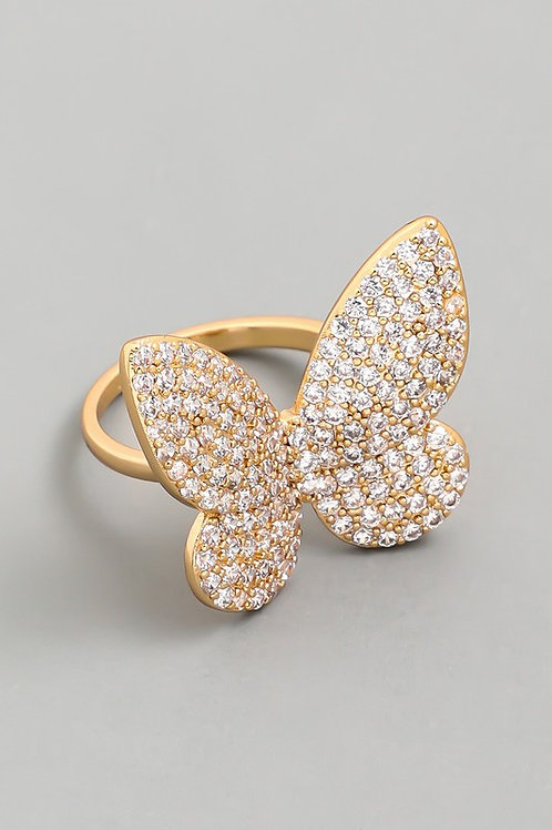 Statement Pave Butterfly Adjustable Ring