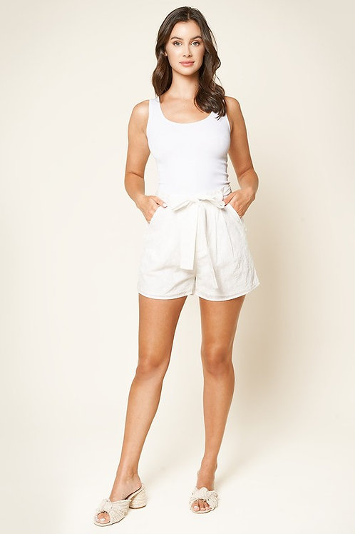 High Waisted Eyelet Belted Shorts (Preorder)