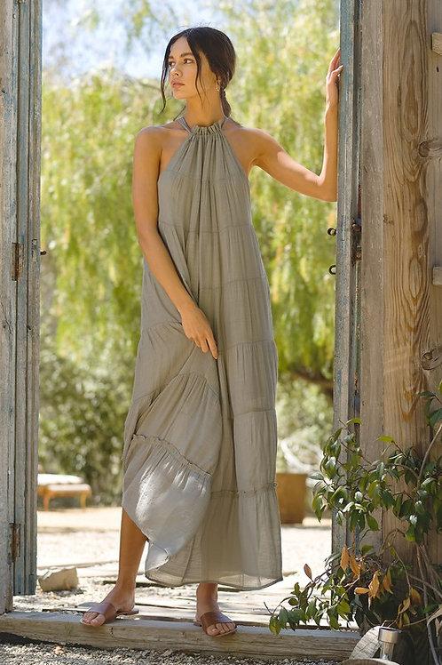 Halter Neckline Tie Back Tiered Maxi Dress