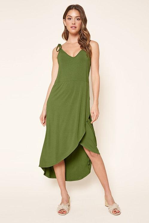 Tie Strap Tulip Hem Jersey Dress