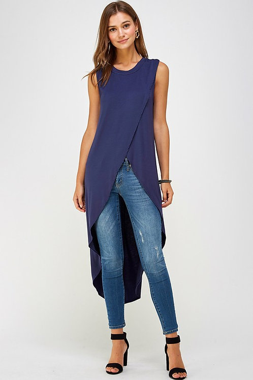 Sleeveless Cross Front High Low Top
