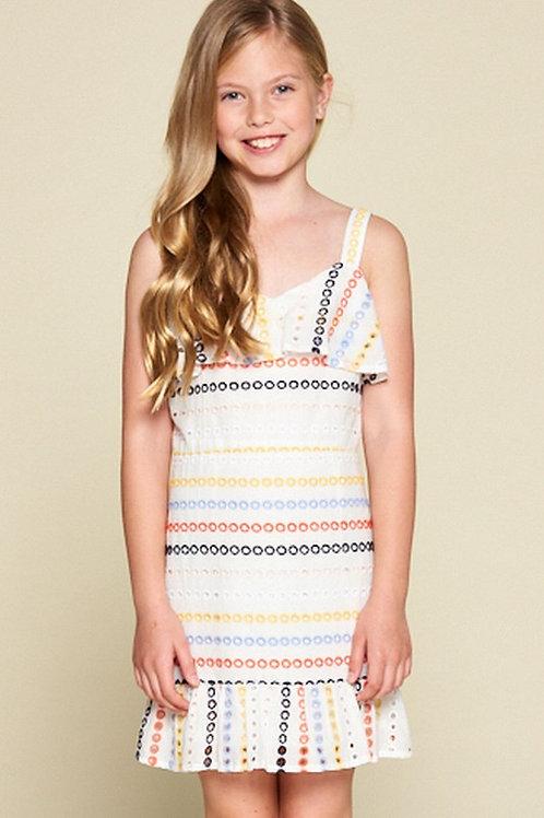 Ruffle Detail Striped Eyelet Dress