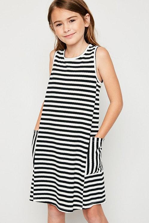 Striped Side Pocket Dress