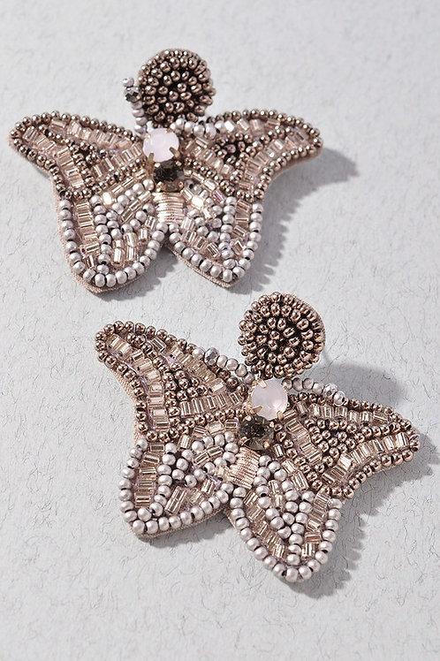 Silver Bead Detail Butterfly Earrings