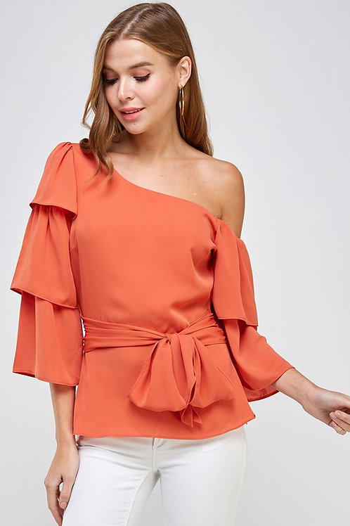 One Shoulder Tiered Sleeve Top