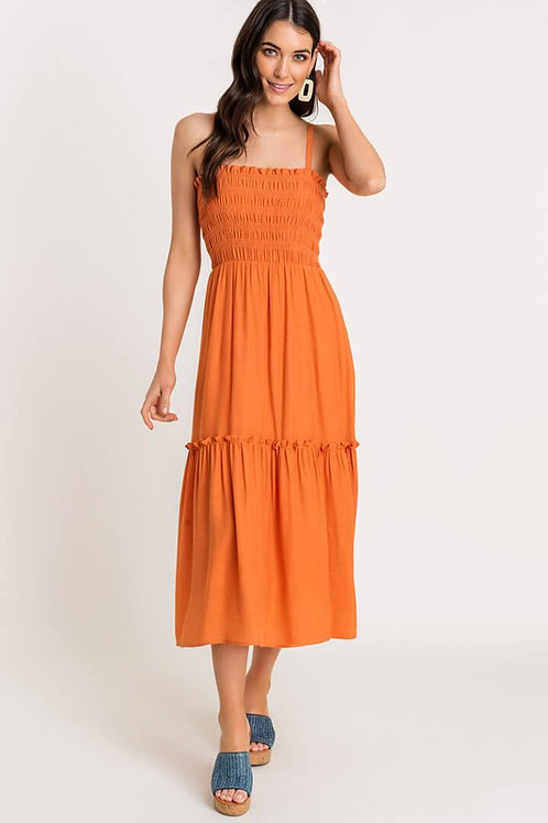 Tiered Shirred Cami Midi Dress