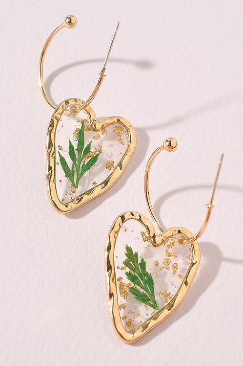 Heart Leaf Detail Drop Hoop Earrings