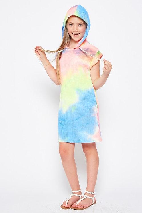 Short Sleeve Tie Dye Hoodie Dress