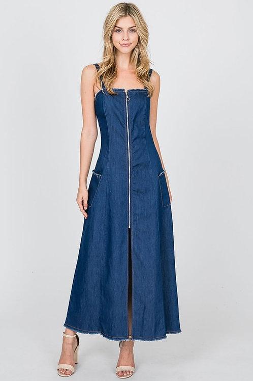 Chambray Zipper Front Maxi Dress