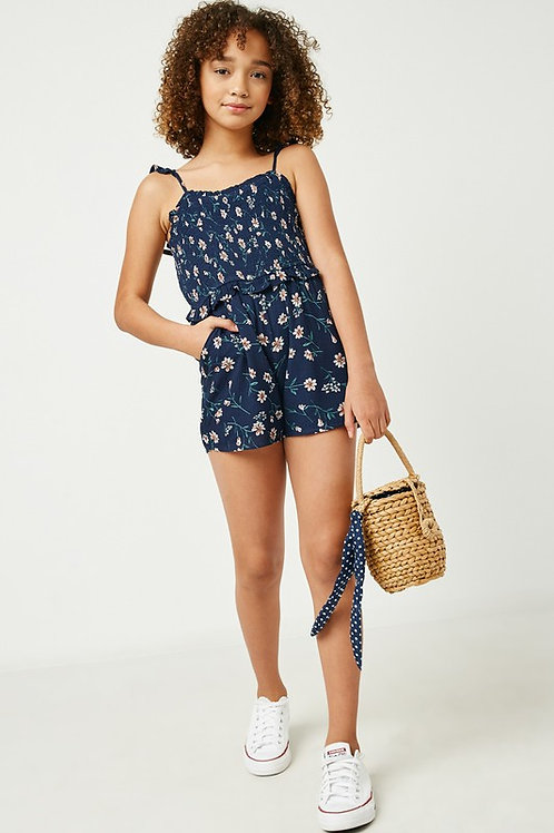 Ruffle Strap & Waist Floral Romper With Adjustable Straps