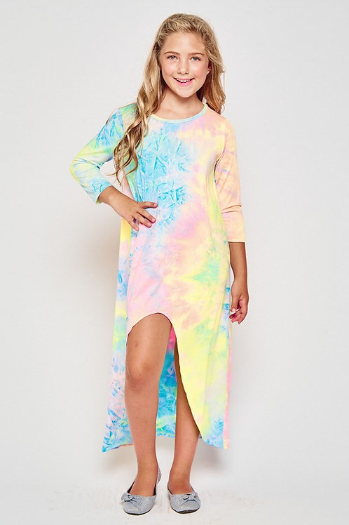 Long Sleeve High Low Maxi Dress