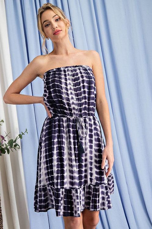 Strapless Tie Dye Drawstring Dress