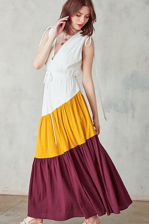 V Neck Tie Shoulder Maxi Dress