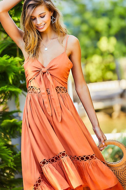 High Low Spaghetti Strap Front Tie Cut Out Detail Dress