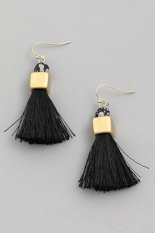 Black/Gold Bead Detail Tassel Earrings