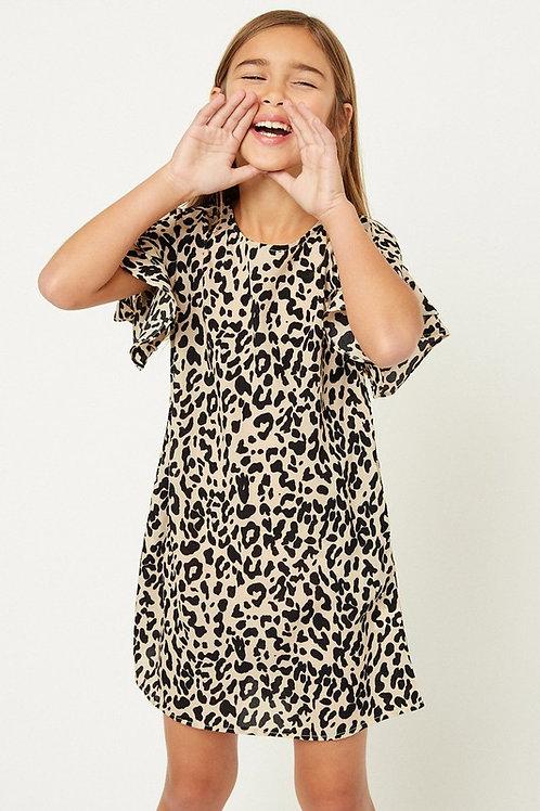 Animal Print Ruffle Sleeve Shift Dress
