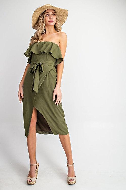 Strapless Ruffle Detail Belted Midi Dress