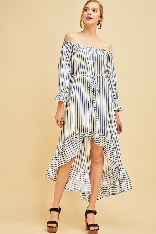 Striped Off The Shoulder Belted Ruffle Hem Button Down High Low Dress