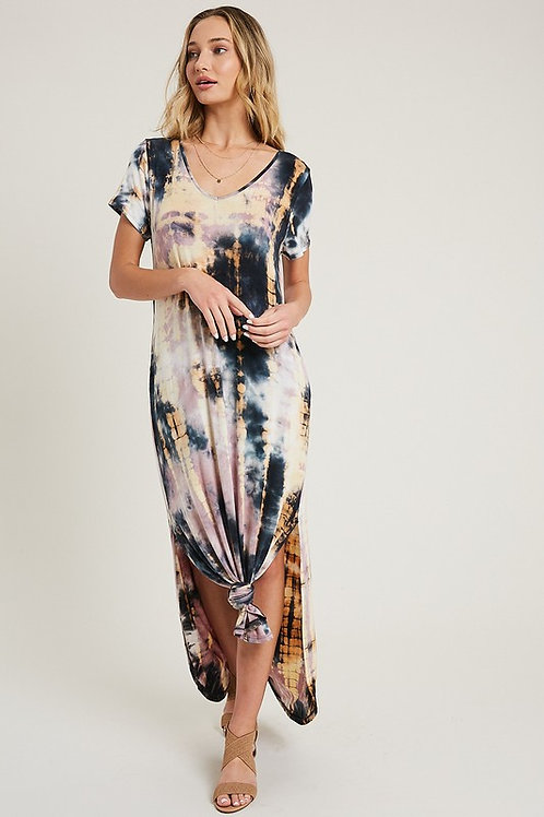 Short Sleeve Tie Dye Maxi Dress With Side Slits (Preorder)