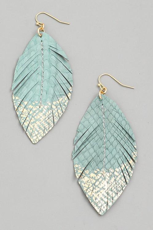 Mint Textured Faux Leather Drop Earrings