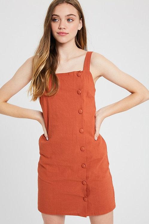 Square Neck Button Detail Dress