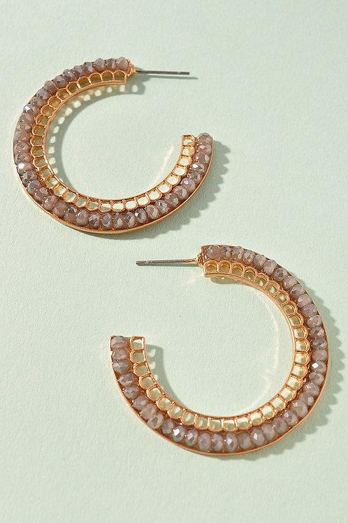 Grey Gold Bead Detail Hoop Earrings