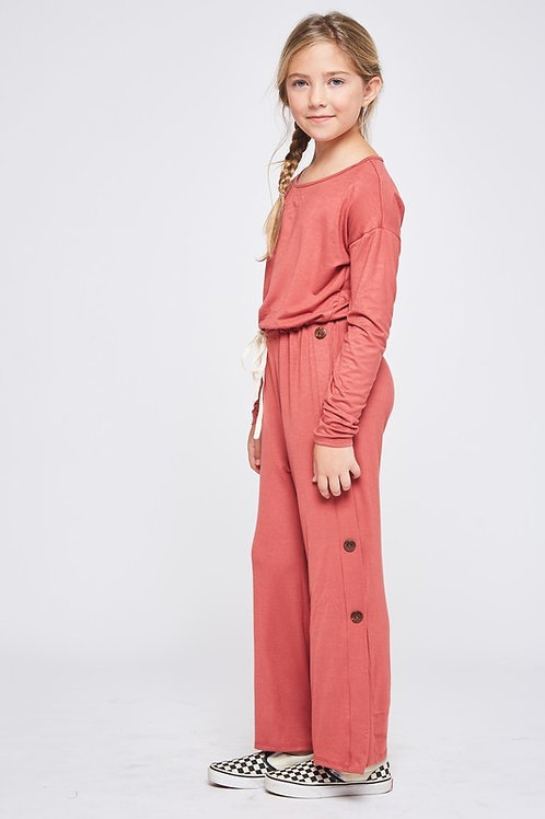 Side Button Detail Drawstring Jumpsuit - Available in Dusty Pink (Preorder)