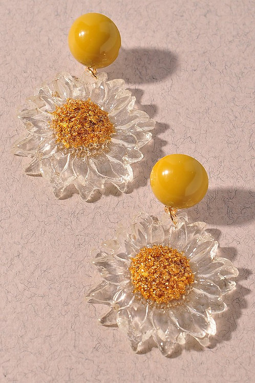 Clear Lucite Sunflower Drop Earrings
