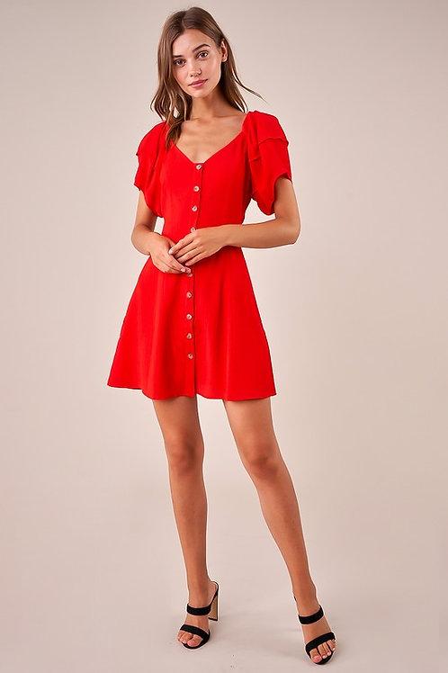 Puff Sleeve Button Down Mini Dress