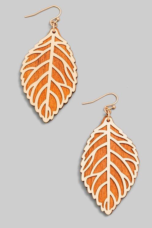 Leaf Outline Wooden Drop Earrings