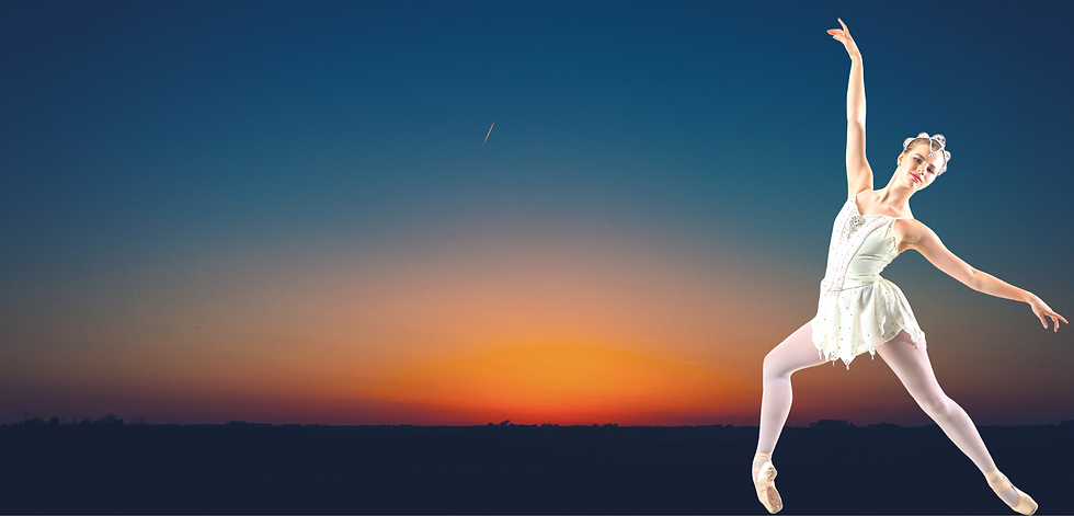Ballerina and sunset Background