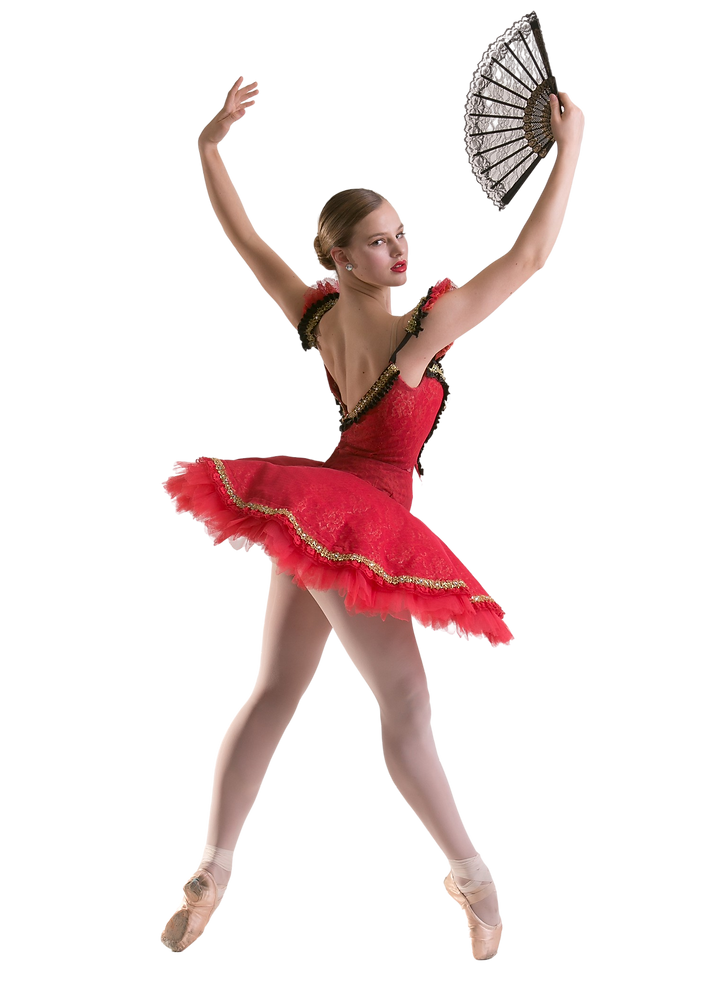 ballerina on red dress holding fan