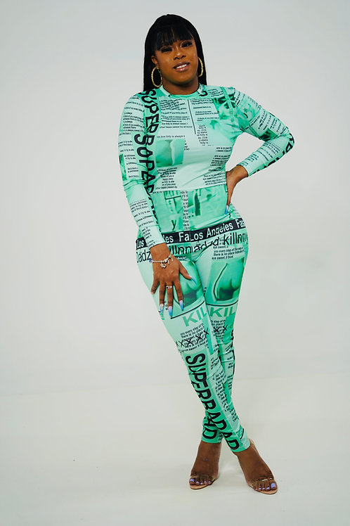 Read All About it Jumpsuit  (Green)