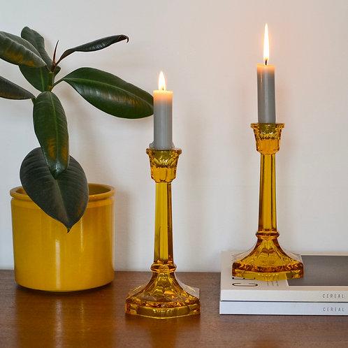 Amber Candlesticks