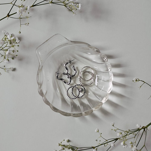 Large Vintage Glass Shell Dish