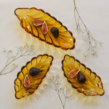 Art Deco Amber Leaf Dishes