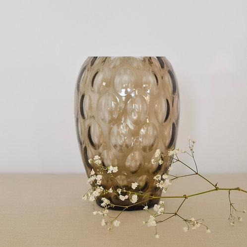 Mid-century Olive Bubble Glass Vase