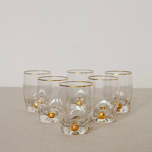 Retro Gold Dot Shot Glasses