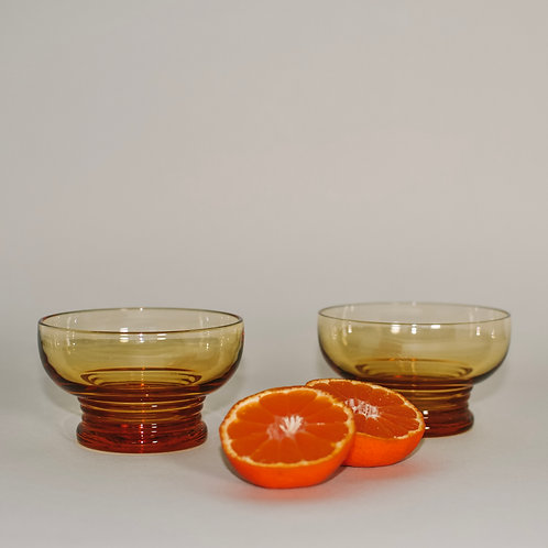 Vintage Amber Pressed Glass Dishes