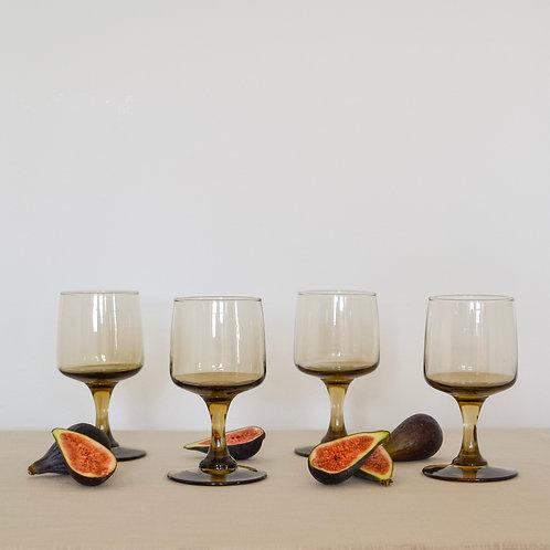 Mid Century Smoked Glass Set