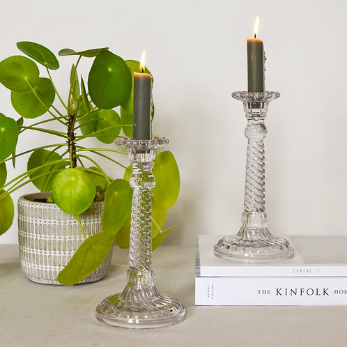 Twisted Clear Candlestick Pair