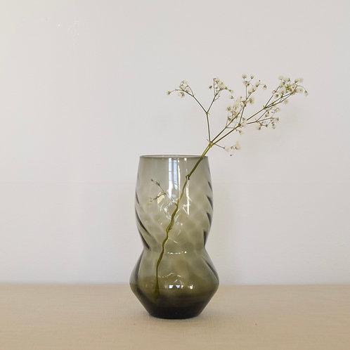Mid-century Smoked Grey Glass Vase