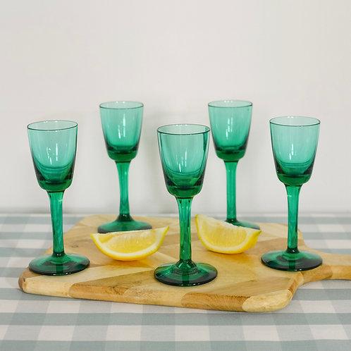 Green Long Stem Liqueur Glasses