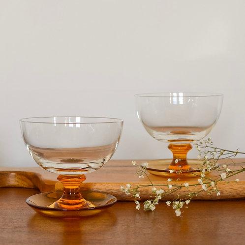 Amber Pressed Glass Dessert Dish Duo