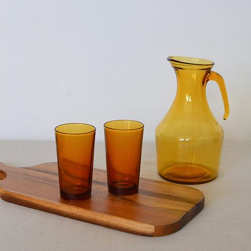 Vintage Amber Glass Jug & Tumblers