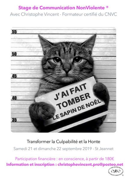 """Stage CNV """"Transformer la culpabilité et la honte"""" des 21-22 septembre 2019 à St Jeannet (06)"""
