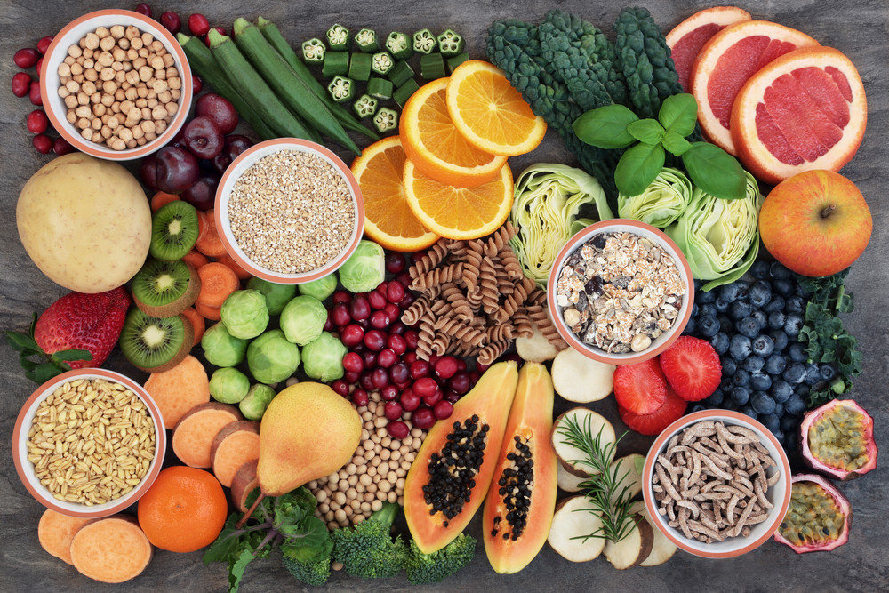 Variety of plant-based foods containing a range of fibres