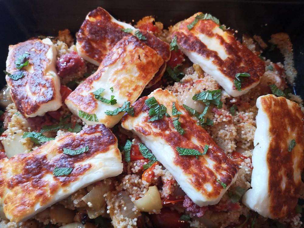 Roasted tomato quinoa with grilled halloumi