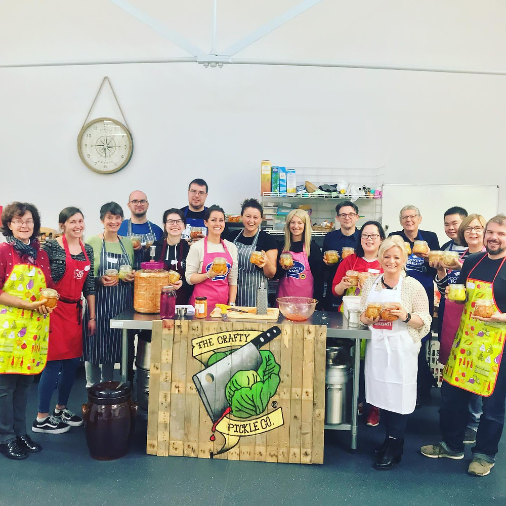 The Crafty Pickle Co. sauerkraut and kimchi workshop, masterclass crafting live, fermented vegetable products