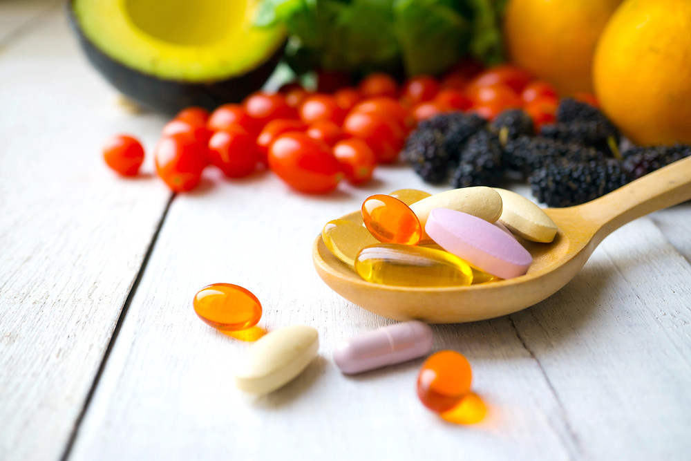 Plant-based foods, vegetables and fruit and probiotic pills and supplements